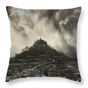 Throw Pillow featuring the painting Storm Over St Michaels Mount Cornwall by Jean Walker