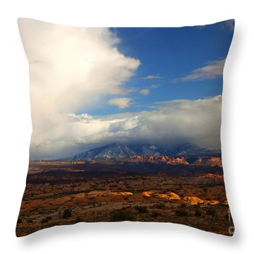 Storm Over The La Sals Throw Pillow by Mike  Dawson