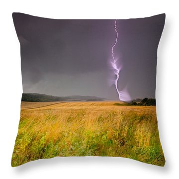 Storm Over The Wheat Fields Throw Pillow by Eti Reid