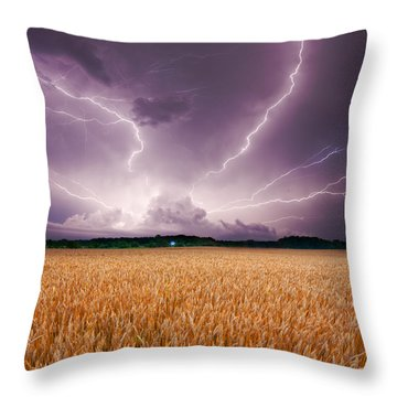 Storm Over Wheat Throw Pillow by Alexey Stiop