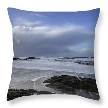 Storm Rolling In Wickaninnish Beach Throw Pillow