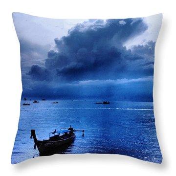 Storm Rolls Over The Sea Throw Pillow by Kaleidoscopik Photography