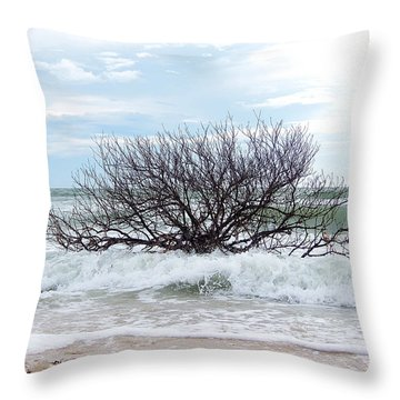 Throw Pillow featuring the photograph Storm Tide by Chris Mercer
