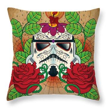 Storm Trooper Sugar Skull Throw Pillow