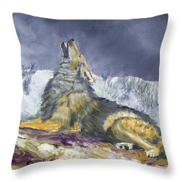 Storm Warning 2 Winter Throw Pillow by Ruth Seal