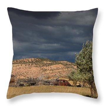 Storm Whipping Desert Homestead Throw Pillow
