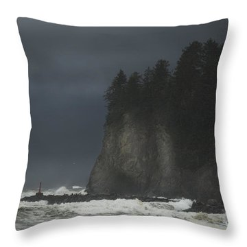 Storm At Lapush Washington State Throw Pillow
