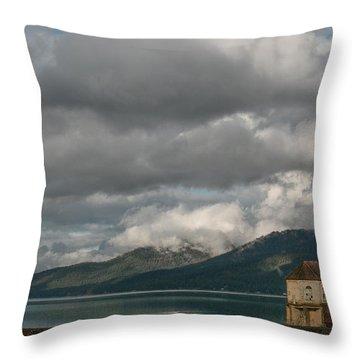 Storms At The Dam Throw Pillow by Jan Davies