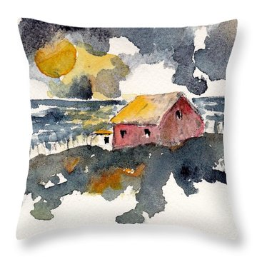 Throw Pillow featuring the painting Storm's Over by Anne Duke