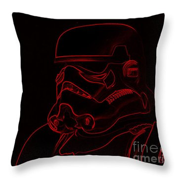 Throw Pillow featuring the digital art Stormtrooper In Red by Chris Thomas
