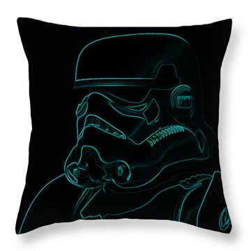 Throw Pillow featuring the digital art Stormtrooper In Teal by Chris Thomas