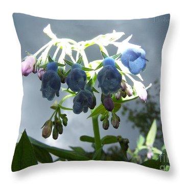 Stormy Bluebells Throw Pillow