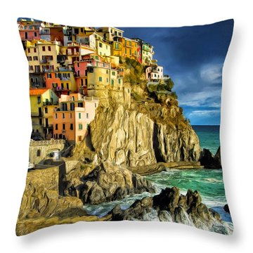 Stormy Day In Manarola - Cinque Terre Throw Pillow