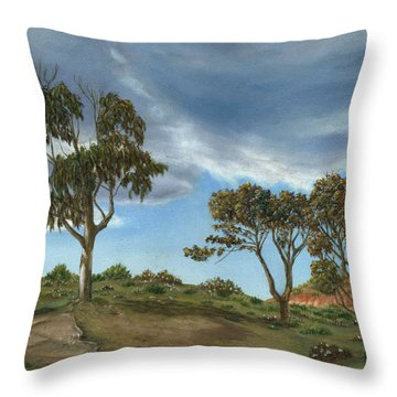 Throw Pillow featuring the painting Stormy Eucalyptus by Angeles M Pomata
