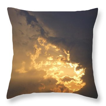Stormy Fiery Sunset Throw Pillow by Bill Woodstock