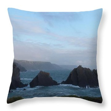 Hartland Quay Storm Throw Pillow