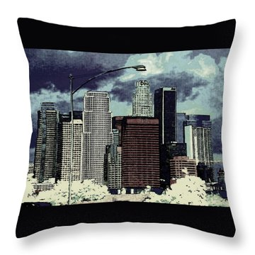 stormy Los Angeles from the freeway Throw Pillow by Jodie Marie Anne Richardson Traugott          aka jm-ART