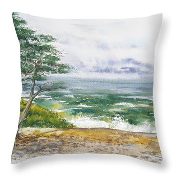 Stormy Morning At Carmel By The Sea California Throw Pillow