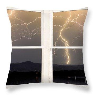Stormy Night Window View Throw Pillow