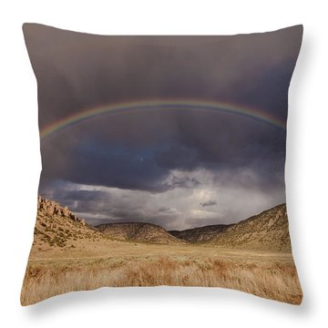 Stormy Rainbow Throw Pillow