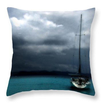 Throw Pillow featuring the photograph Stormy Sails by Heather Green