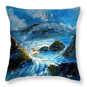 Stormy Sea Throw Pillow by Mauro Beniamino Muggianu