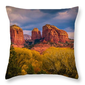 Stormy Skies Over Cathedral Rock Throw Pillow