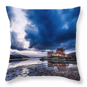 Stormy Skies Over Eilean Donan Castle Throw Pillow