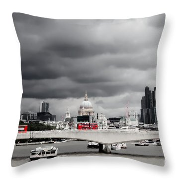 Stormy Skies Over London Throw Pillow