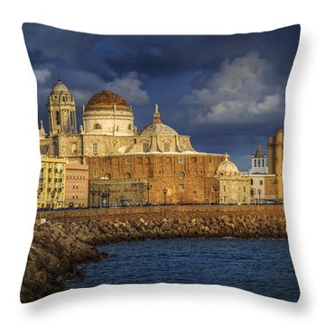 Stormy Skies Over The Cathedral Cadiz Spain Throw Pillow