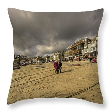 Stormy Sky's At St Ives  Throw Pillow
