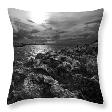 Blank And White Stormy Mediterranean Sunrise In Contrast With Black Rocks And Cliffs In Menorca  Throw Pillow