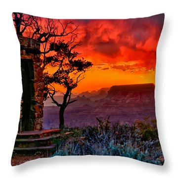 Stormy Sunset At The Watchtower Throw Pillow by Greg Norrell