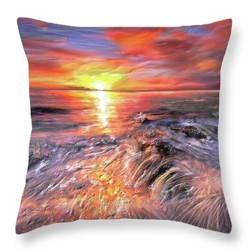 Stormy Sunset At Water's Edge Throw Pillow by Angela A Stanton