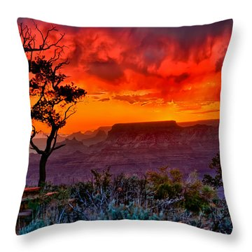 Stormy Sunset Greeting Card Throw Pillow by Greg Norrell