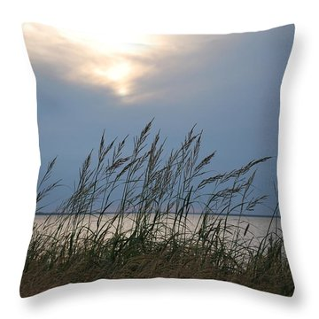 Stormy Sunset Prince Edward Island II Throw Pillow by Micheline Heroux