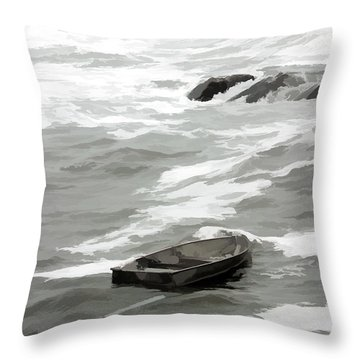 Throw Pillow featuring the photograph Stormy Waves Pound The Shoreline by Jeff Folger