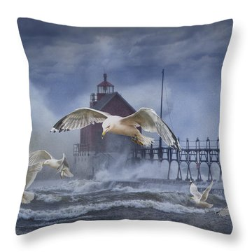 Stormy Weather At The Grand Haven Lighthouse Throw Pillow by Randall Nyhof