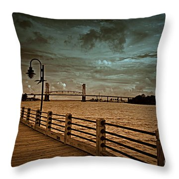 Stormy Wilmington Riverwalk  Throw Pillow