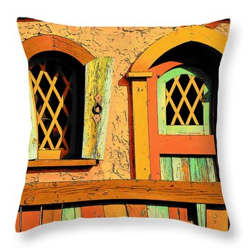 Storybook Window And Door Throw Pillow by Rodney Lee Williams