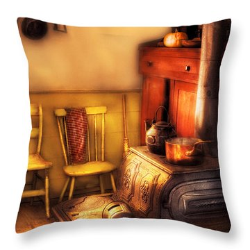 Stove - An Old Farm Kitchen Throw Pillow by Mike Savad