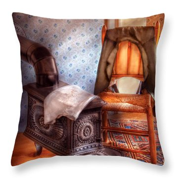 Stove - The Stove And The Chair  Throw Pillow by Mike Savad