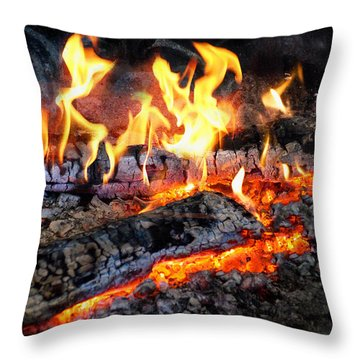 Stove - The Yule Log  Throw Pillow by Mike Savad
