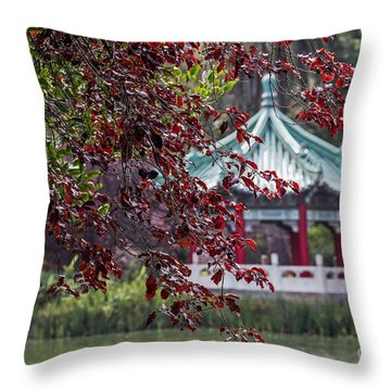 Stow Lake Pavilion Throw Pillow