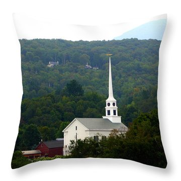 Stowe Community Church Throw Pillow by Patti Whitten