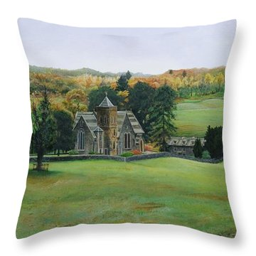 St.peters Church, Cumbria, 2003 Oil On Canvas Throw Pillow
