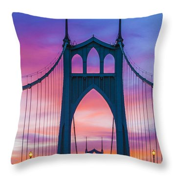 Straight Down The Bridge Throw Pillow