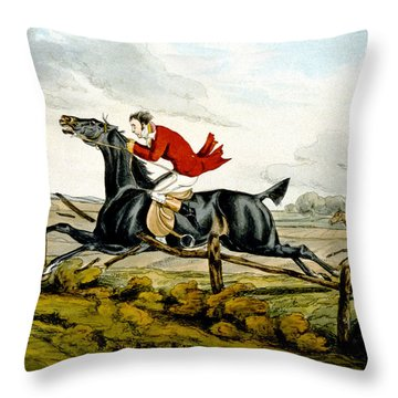 Straight Through The Fence From Qualified Horses And Unqualified Riders Throw Pillow by Henry Thomas Alken