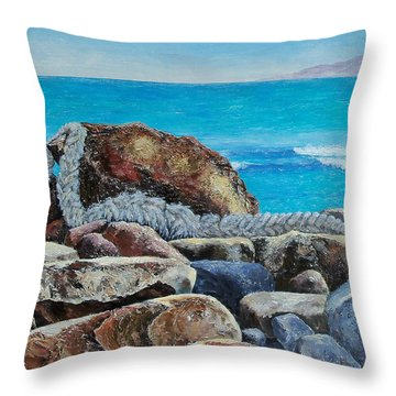 Throw Pillow featuring the painting Stranded by Susan DeLain