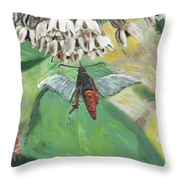 Strange Bug At Flowers Throw Pillow